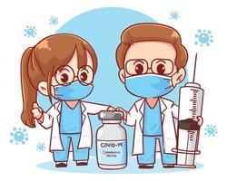 illustrazione di arte del fumetto della siringa dell'iniezione del vaccino del medico e del coronavirus vettore
