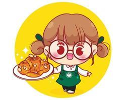 carino barista in grembiule tenendo croissant personaggio dei fumetti illustrazione vettore