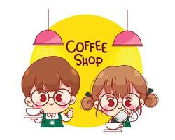 baristi carini in grembiuli che fanno l'illustrazione del personaggio dei cartoni animati del caffè vettore