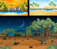 tre diverse scene di paesaggi naturali vettore