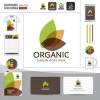 vettore organico e naturale emblema, modello di progettazione di logo