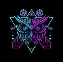 gufo mascotte geometrica con colori al neon vettore
