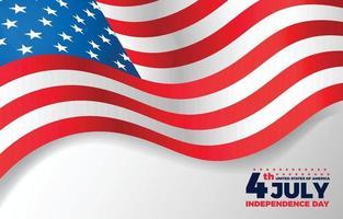 4 luglio giorno dell'indipendenza con la bandiera americana sullo sfondo dell'illustrazione del confine vettore