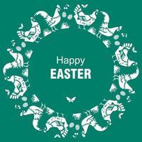 carta di buona Pasqua con galline galline uova su sfondo verde vettore