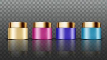 collezione di display di crema per il viso a colori di lusso vettore