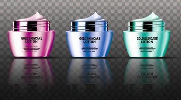 collezione di contenitori di crema per il viso di lusso colorati mock up vettore
