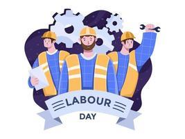 illustrazione piana di vettore di festa del lavoro con i lavoratori che celebrano insieme la giornata internazionale dei lavoratori. 1 maggio celebrazione internazionale della festa del lavoro