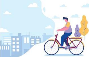 in bicicletta sullo sfondo della città vettore