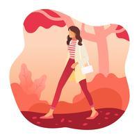Ragazza in autunno moda vettoriale