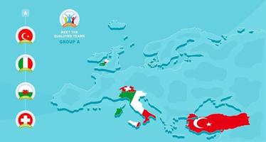 raggruppa un'illustrazione vettoriale del campionato di calcio europeo 2020 con una mappa dell'europa e la bandiera dei paesi evidenziati qualificati per la fase finale e il segno del logo su sfondo blu