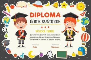 certificato di diploma per bambini in età prescolare ed elementare vettore