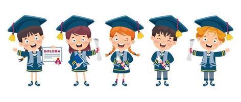 cartone animato bambino felice in costume di laurea vettore