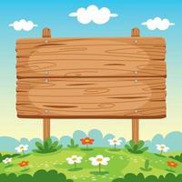 illustrazione del bordo del cartello in legno bianco vettore