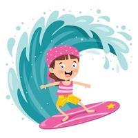 personaggio dei cartoni animati felice surf in mare vettore