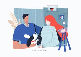 Illustrazione piana di vettore felice della famiglia dell'amante del cane