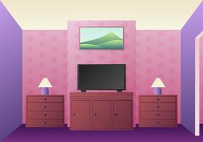 Vettore realistico degli elementi di progettazione della stanza della TV