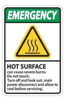 segno di superficie calda di emergenza su sfondo bianco vettore