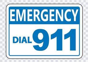segno di chiamata di emergenza 911 su sfondo trasparente vettore