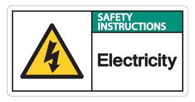 istruzioni di sicurezza elettricità simbolo segno su sfondo bianco vettore
