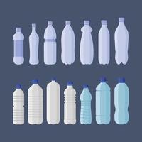 set di bottiglie di plastica per bibite e acqua vettore