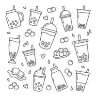Boba drink doodle disegnati a mano icone vettoriali