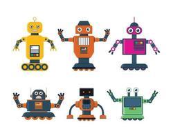 set di giocattoli robot in vari modelli di robot e illustrazione vettoriale ruota robot