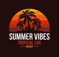 poster della spiaggia della california con palme e tramonto dei cartoni animati vettore