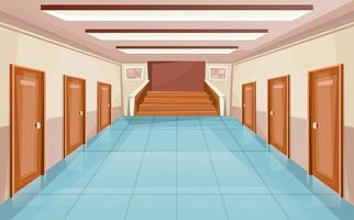 corridoio della scuola o interno dell'università con porte e scale vettore