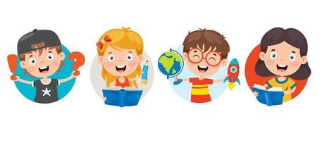 bambini della scuola felice simpatico cartone animato vettore