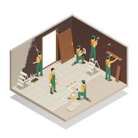 illustrazione vettoriale di composizione isometrica ristrutturazione casa
