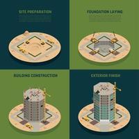 illustrazione isometrica di vettore della costruzione del grattacielo