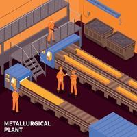 illustrazione vettoriale isometrica di industria siderurgica