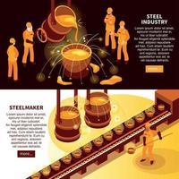 illustrazione vettoriale di banner isometrica industria siderurgica