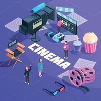composizione isometrica del cinema vettore