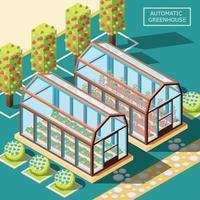 illustrazione isometrica di vettore del manifesto dei robot agricoli