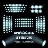 illustrazione realistica di vettore dell'insieme dei proiettori dello stadio