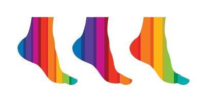 segno di vettore del piede multicolore