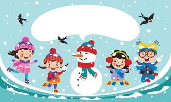 bambini divertenti che giocano in inverno vettore