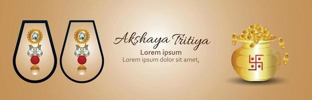 banner di invito akshaya tritiya con moneta d'oro e orecchini d'oro vettore