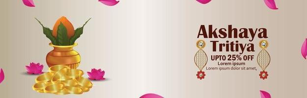 banner di vendita creativa di akshaya tritiya con kalash e orecchini tradizionali vettore