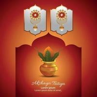 illustrazione vettoriale di festival indiano akshaya tritiya sfondo promozione di vendita con kalash e orecchini d'oro