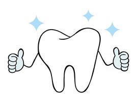 Cartoon illustrazione vettoriale di dente bianco carattere mascotte dare pollice in alto