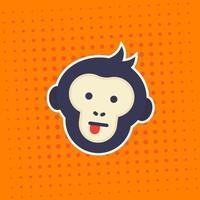 scimmia o scimmia che mostra l'adesivo di vettore della lingua