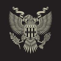 grafica vettoriale emblema di aquila americana sul nero