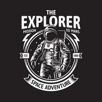 astronauta nell'illustrazione di vettore del distintivo dello spazio