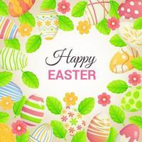 felice cornice di pasqua con uova e foglie di fiori può essere utilizzata come poster carta vacanze cornice decorativa illustrazione vettoriale stock in stile realistico del fumetto