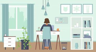 afroamericano donna seduta dietro con laptop a casa con maschera accogliente interno casa ufficio lavoro a casa freelance lavoro remoto online educazione quarantena covid 19 concetto stock vettoriale
