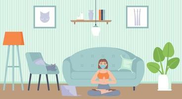 giovane bella ragazza in maschera per il viso seduto nella posizione del loto yoga in appartamento salute mentale e rilassamento del corpo meditazione fitness sport quarantena attività concetto illustrazione vettoriale in stile cartone animato piatto