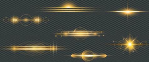 set di luci incandescenti effetto bagliore di stelle dorate vettore