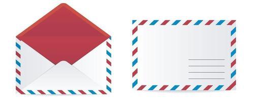 set di vista frontale della busta dl di carta da lettera bianca vuota realistica vettore